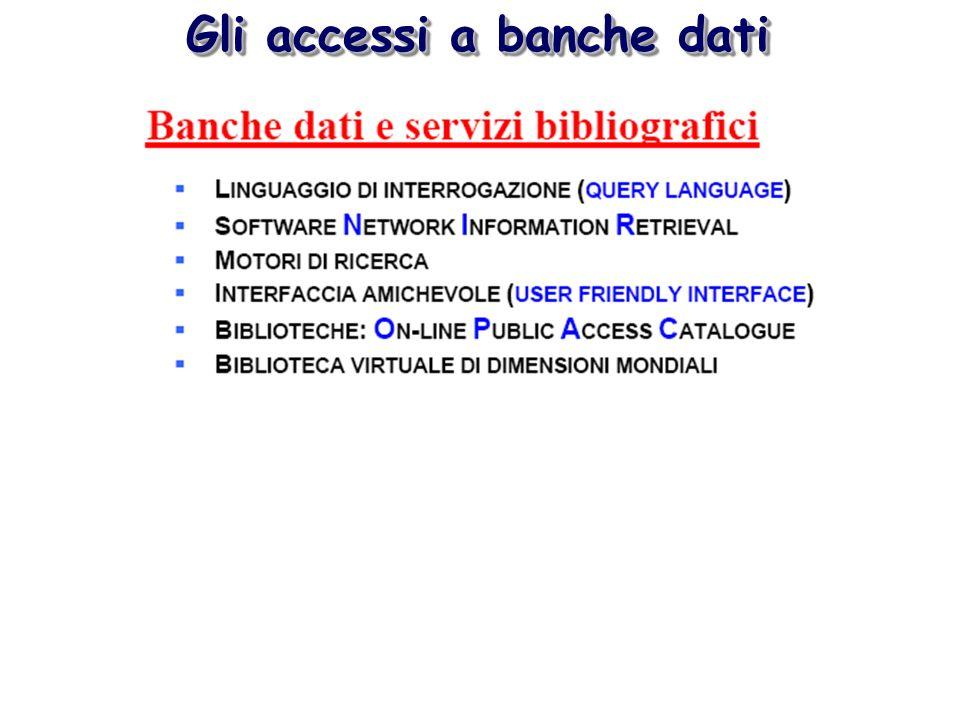 Gli accessi a banche dati