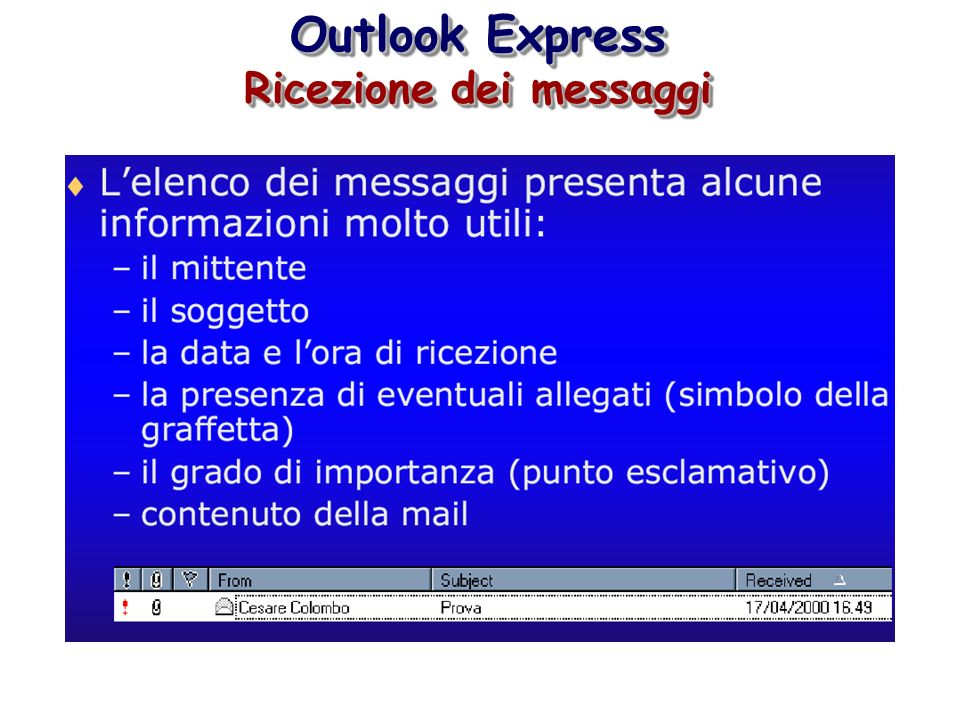 Outlook Express Ricezione dei messaggi Outlook Express Ricezione dei messaggi