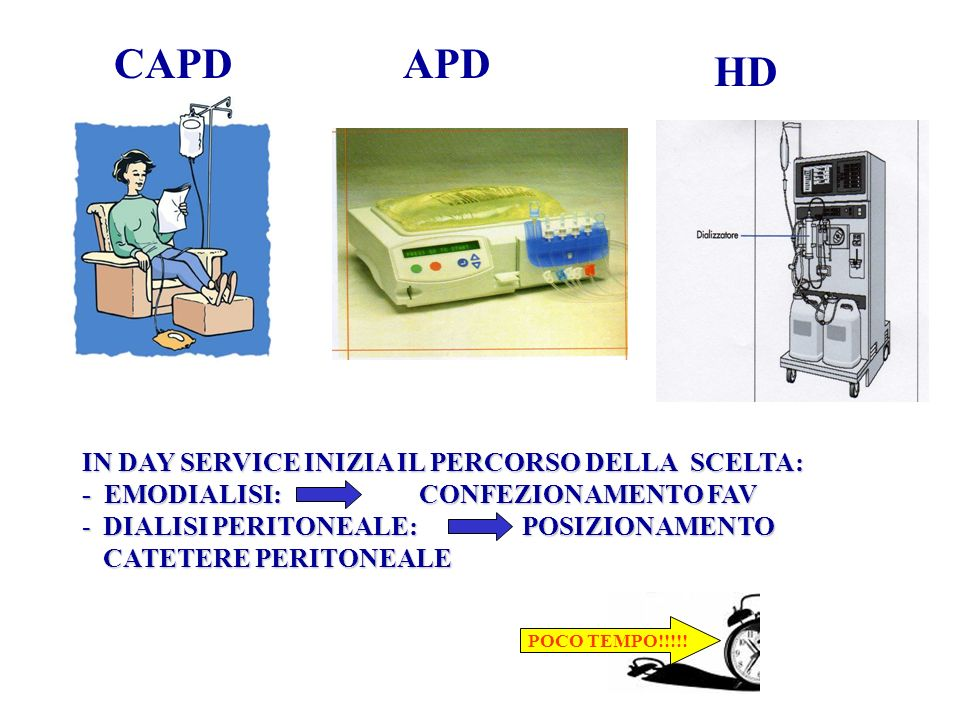 CAPDAPD HD IN DAY SERVICE INIZIA IL PERCORSO DELLA SCELTA: - EMODIALISI: CONFEZIONAMENTO FAV -DIALISI PERITONEALE: POSIZIONAMENTO CATETERE PERITONEALE