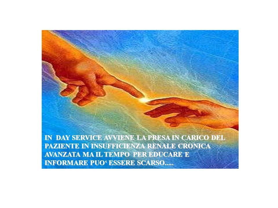 IN DAY SERVICE AVVIENE LA PRESA IN CARICO DEL PAZIENTE IN INSUFFICIENZA RENALE CRONICA AVANZATA MA IL TEMPO PER EDUCARE E INFORMARE PUO ESSERE SCARSO.