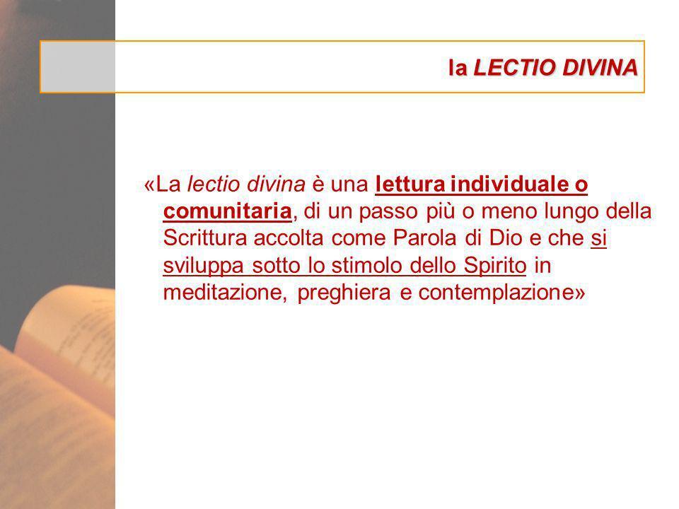 la LECTIO DIVINA «La lectio divina è una lettura individuale o comunitaria, di un passo più o meno lungo della Scrittura accolta come Parola di Dio e
