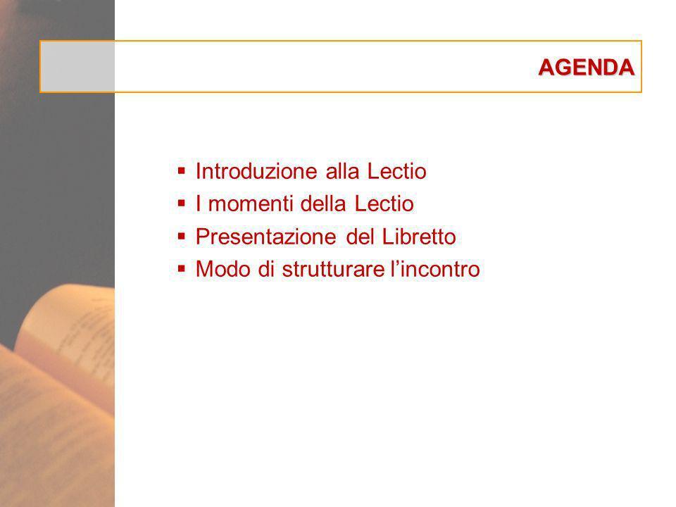 AGENDA Introduzione alla Lectio I momenti della Lectio Presentazione del Libretto Modo di strutturare lincontro