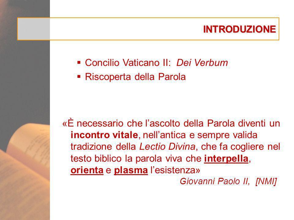INTRODUZIONE Concilio Vaticano II: Dei Verbum Riscoperta della Parola «È necessario che lascolto della Parola diventi un incontro vitale, nellantica e