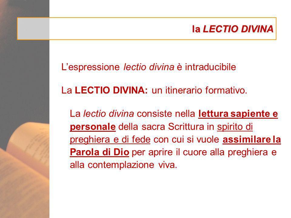 la LECTIO DIVINA Lespressione lectio divina è intraducibile La LECTIO DIVINA: un itinerario formativo. La lectio divina consiste nella lettura sapient