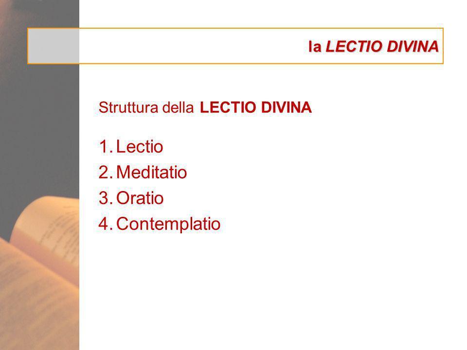 la LECTIO DIVINA Struttura della LECTIO DIVINA 1.Lectio 2.Meditatio 3.Oratio 4.Contemplatio