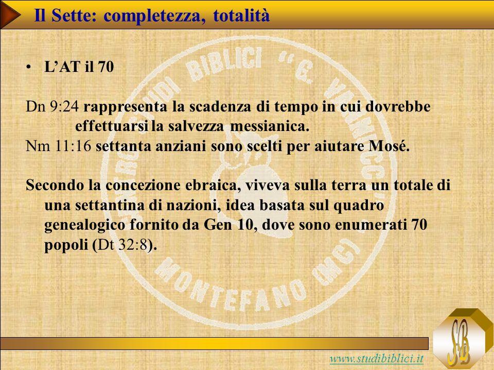 www.studibiblici.it LAT il 70 Dn 9:24 rappresenta la scadenza di tempo in cui dovrebbe effettuarsi la salvezza messianica.
