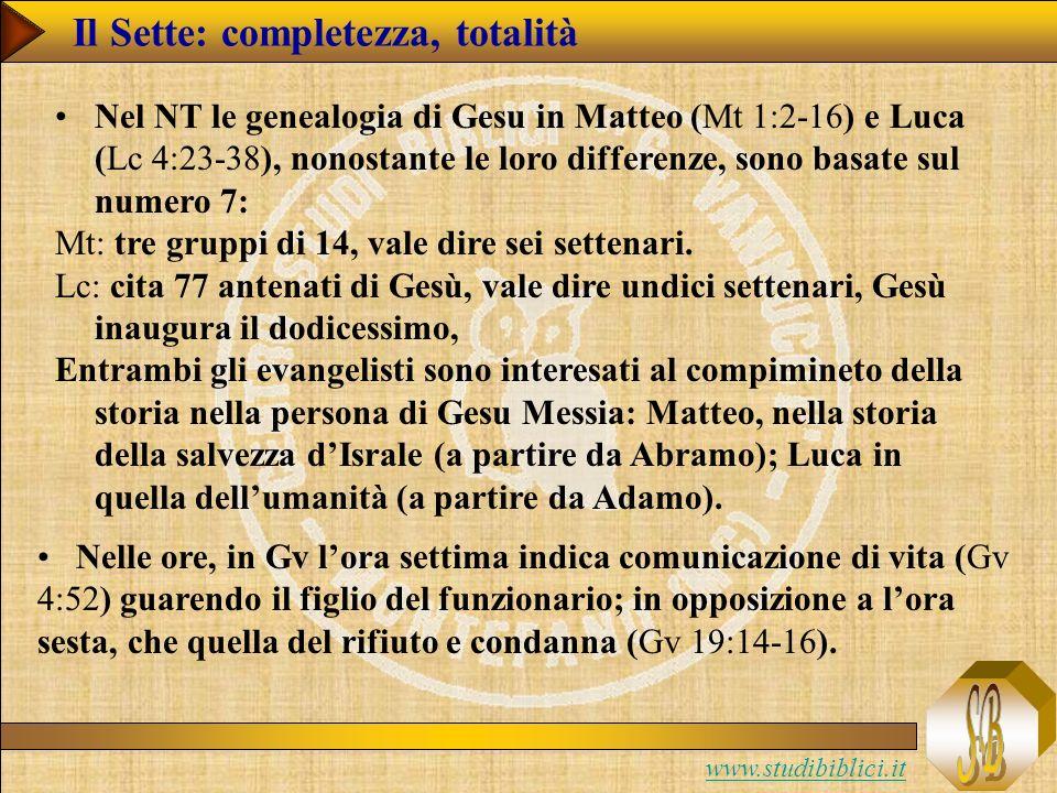 www.studibiblici.it Nel NT le genealogia di Gesu in Matteo (Mt 1:2-16) e Luca (Lc 4:23-38), nonostante le loro differenze, sono basate sul numero 7: Mt: tre gruppi di 14, vale dire sei settenari.