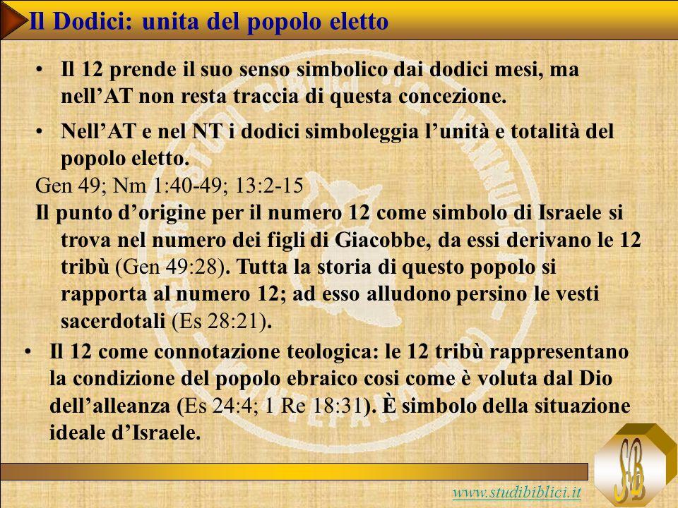 www.studibiblici.it Il Dodici: unita del popolo eletto Il 12 prende il suo senso simbolico dai dodici mesi, ma nellAT non resta traccia di questa concezione.