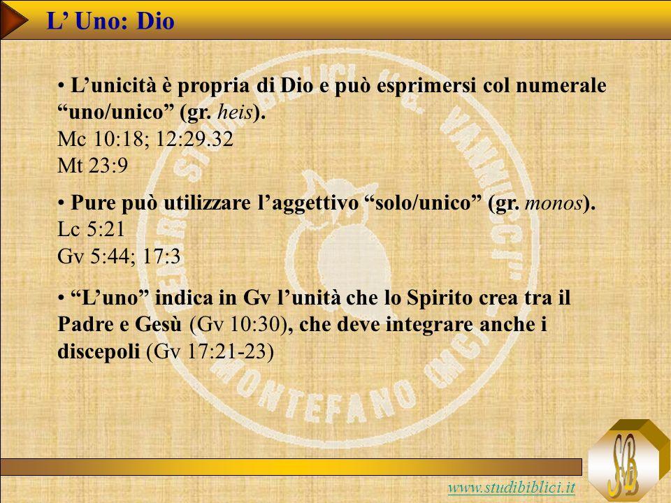 www.studibiblici.it L Uno: Dio Lunicità è propria di Dio e può esprimersi col numerale uno/unico (gr.