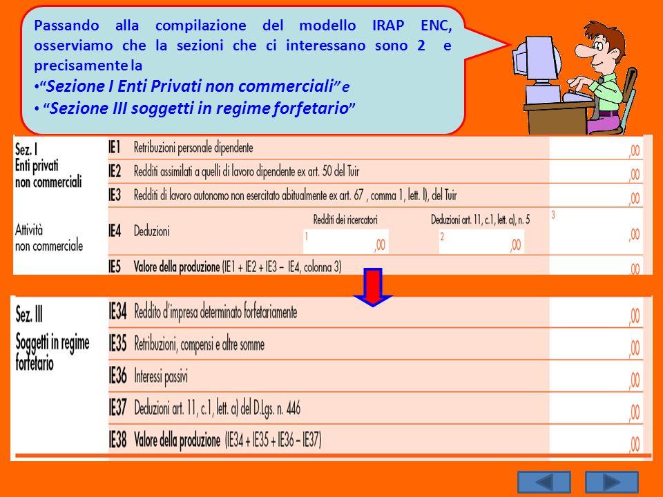 Passando alla compilazione del modello IRAP ENC, osserviamo che la sezioni che ci interessano sono 2 e precisamente la Sezione I Enti Privati non comm