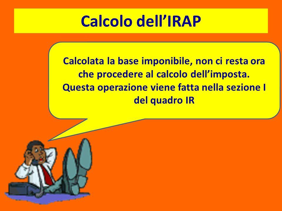 Calcolo dellIRAP Calcolata la base imponibile, non ci resta ora che procedere al calcolo dellimposta. Questa operazione viene fatta nella sezione I de