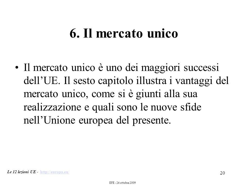 20 6. Il mercato unico Il mercato unico è uno dei maggiori successi dellUE.