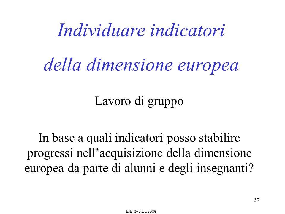 37 Individuare indicatori della dimensione europea Lavoro di gruppo In base a quali indicatori posso stabilire progressi nellacquisizione della dimensione europea da parte di alunni e degli insegnanti.