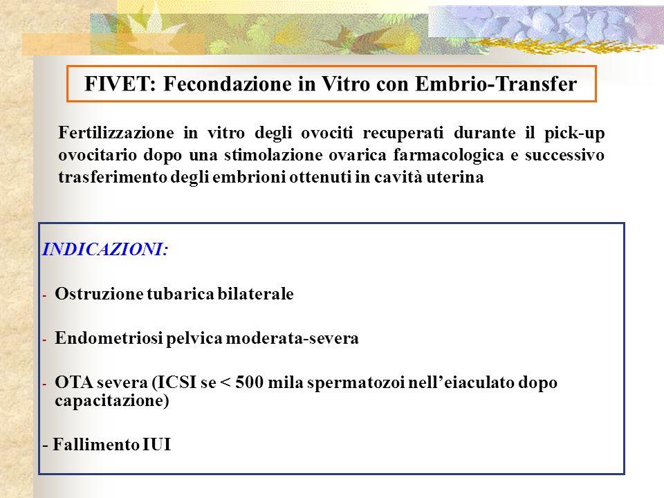 Fertilizzazione in vitro degli ovociti recuperati durante il pick-up ovocitario dopo una stimolazione ovarica farmacologica e successivo trasferimento