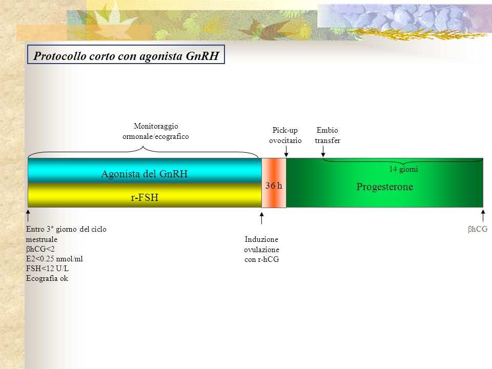 Agonista del GnRH r-FSH Progesterone Entro 3° giorno del ciclo mestruale βhCG<2 E2<0.25 nmol/ml FSH<12 U/L Ecografia ok Monitoraggio ormonale/ecografi