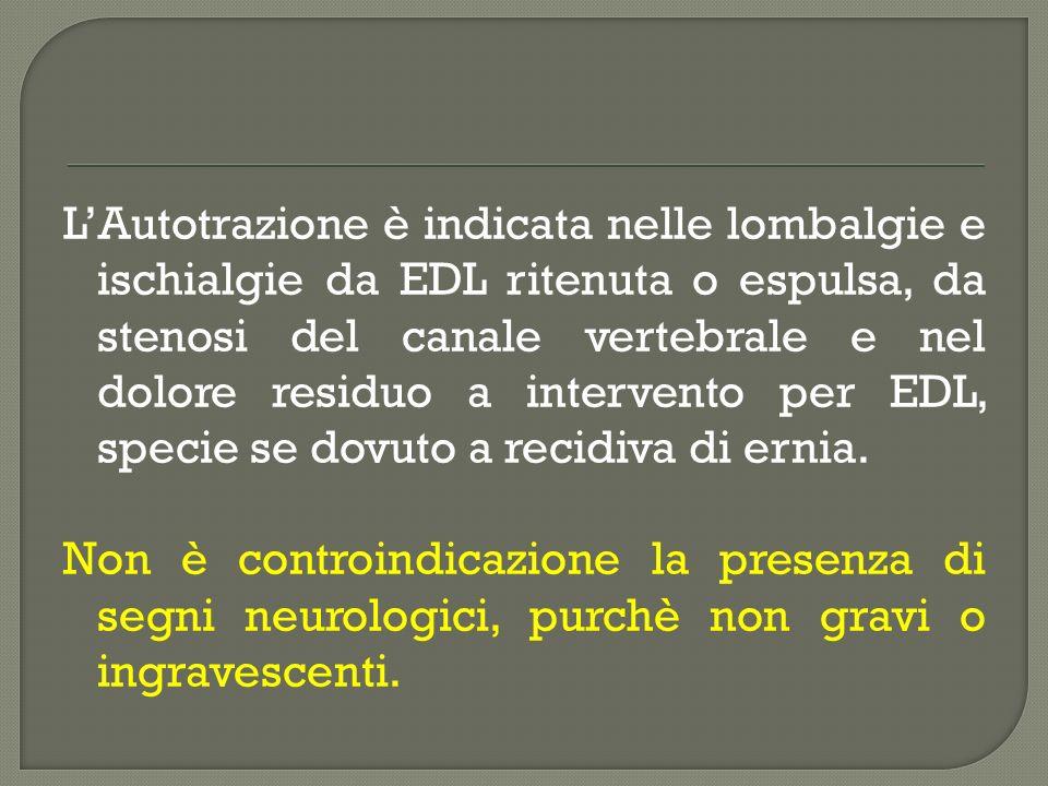 LAutotrazione è indicata nelle lombalgie e ischialgie da EDL ritenuta o espulsa, da stenosi del canale vertebrale e nel dolore residuo a intervento pe