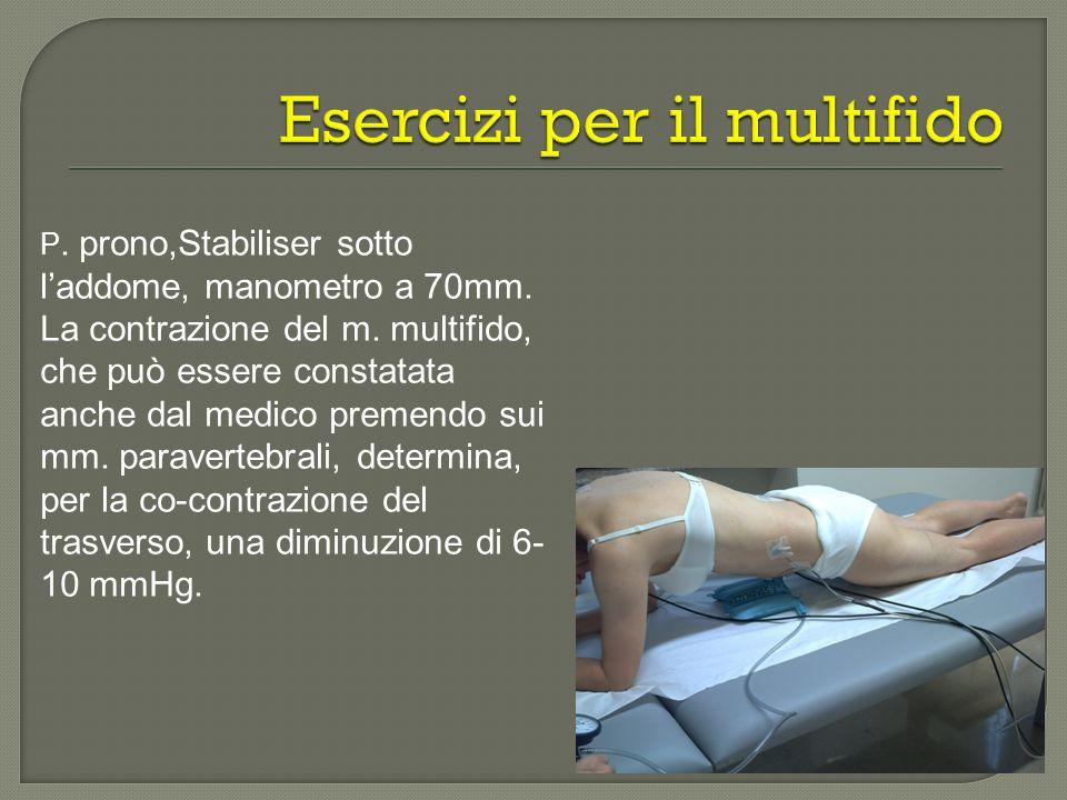 P. prono,Stabiliser sotto laddome, manometro a 70mm. La contrazione del m. multifido, che può essere constatata anche dal medico premendo sui mm. para
