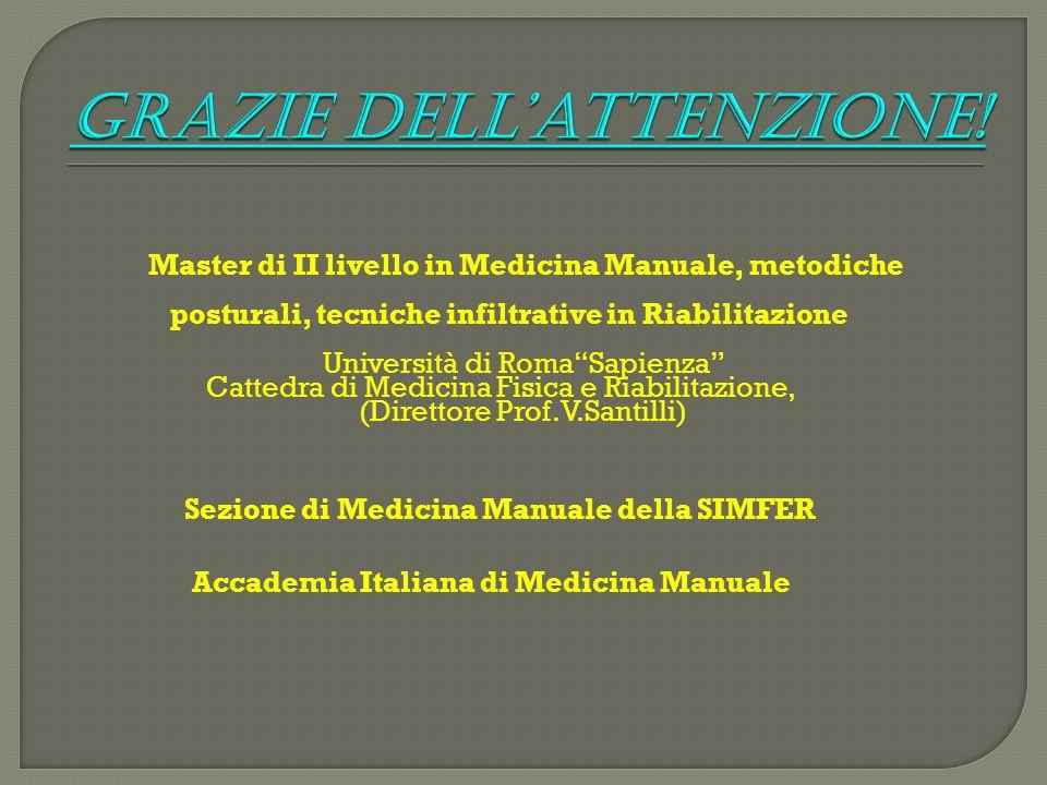 Master di II livello in Medicina Manuale, metodiche posturali, tecniche infiltrative in Riabilitazione Università di RomaSapienza Cattedra di Medicina