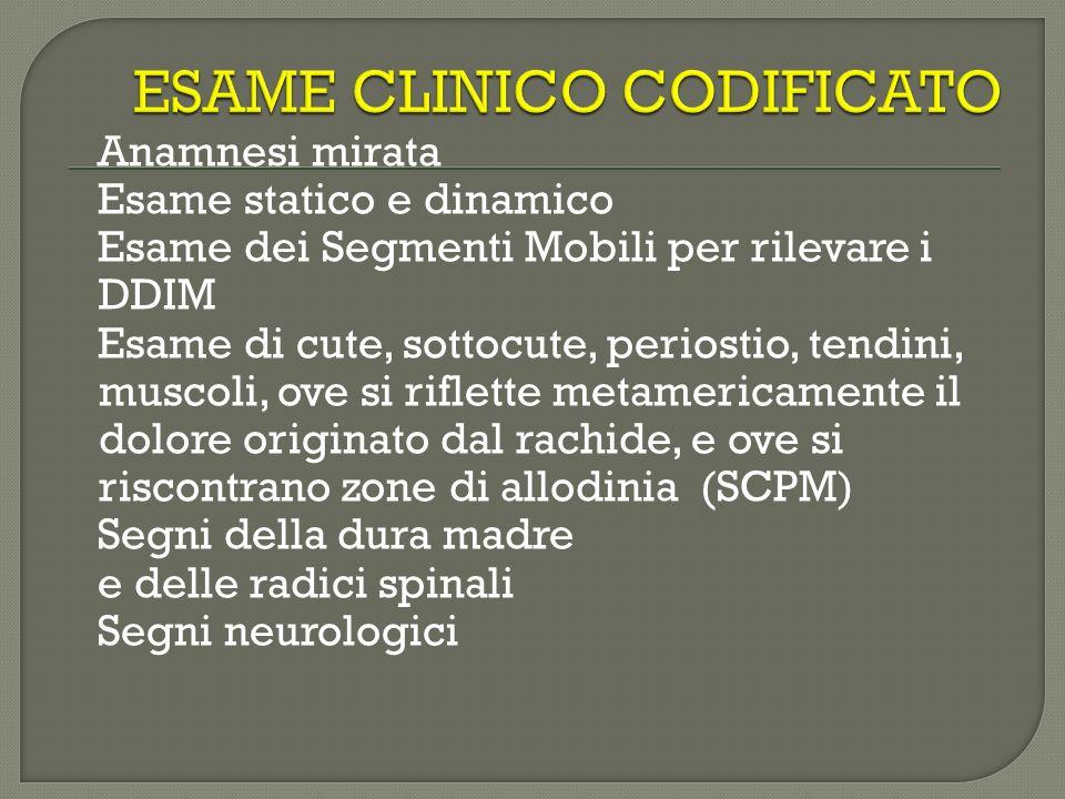 Anamnesi mirata Esame statico e dinamico Esame dei Segmenti Mobili per rilevare i DDIM Esame di cute, sottocute, periostio, tendini, muscoli, ove si r