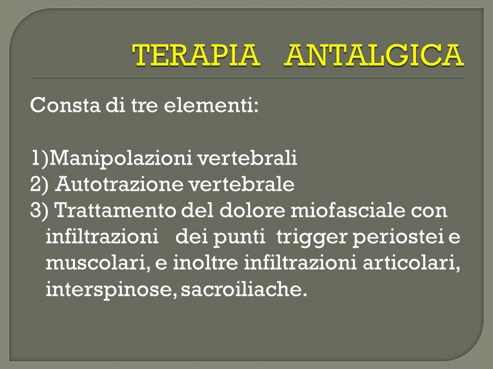 Consta di tre elementi: 1)Manipolazioni vertebrali 2) Autotrazione vertebrale 3) Trattamento del dolore miofasciale con infiltrazioni dei punti trigge