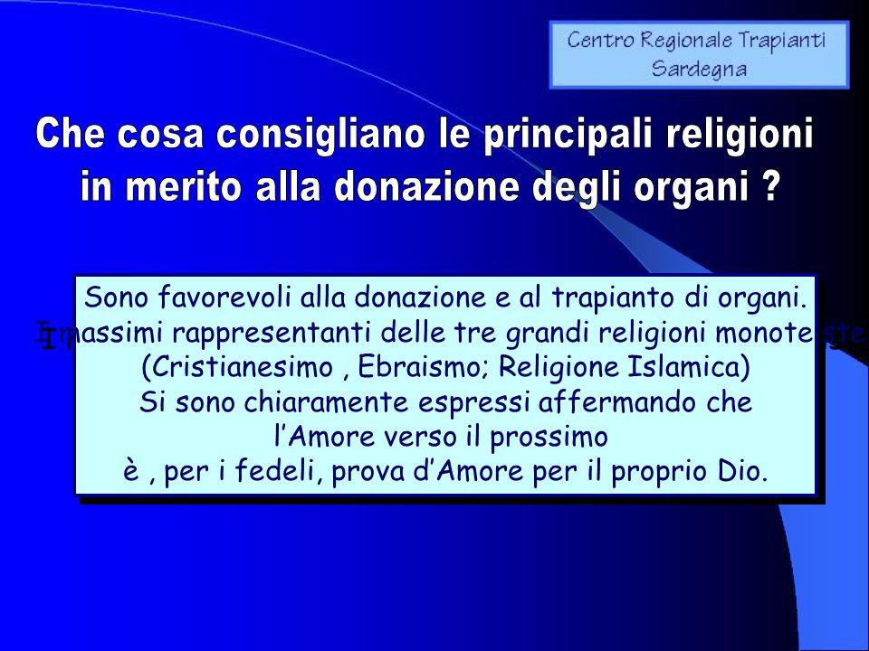 Sono favorevoli alla donazione e al trapianto di organi. I massimi rappresentanti delle tre grandi religioni monoteiste (Cristianesimo, Ebraismo; Reli