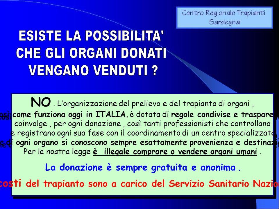 NO. Lorganizzazione del prelievo e del trapianto di organi, così come funziona oggi in ITALIA, è dotata di regole condivise e trasparenti : coinvolge,