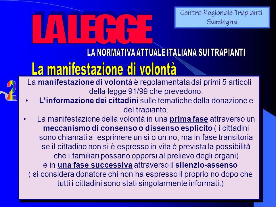 La manifestazione di volontà è regolamentata dai primi 5 articoli della legge 91/99 che prevedono: Linformazione dei cittadini sulle tematiche dalla d