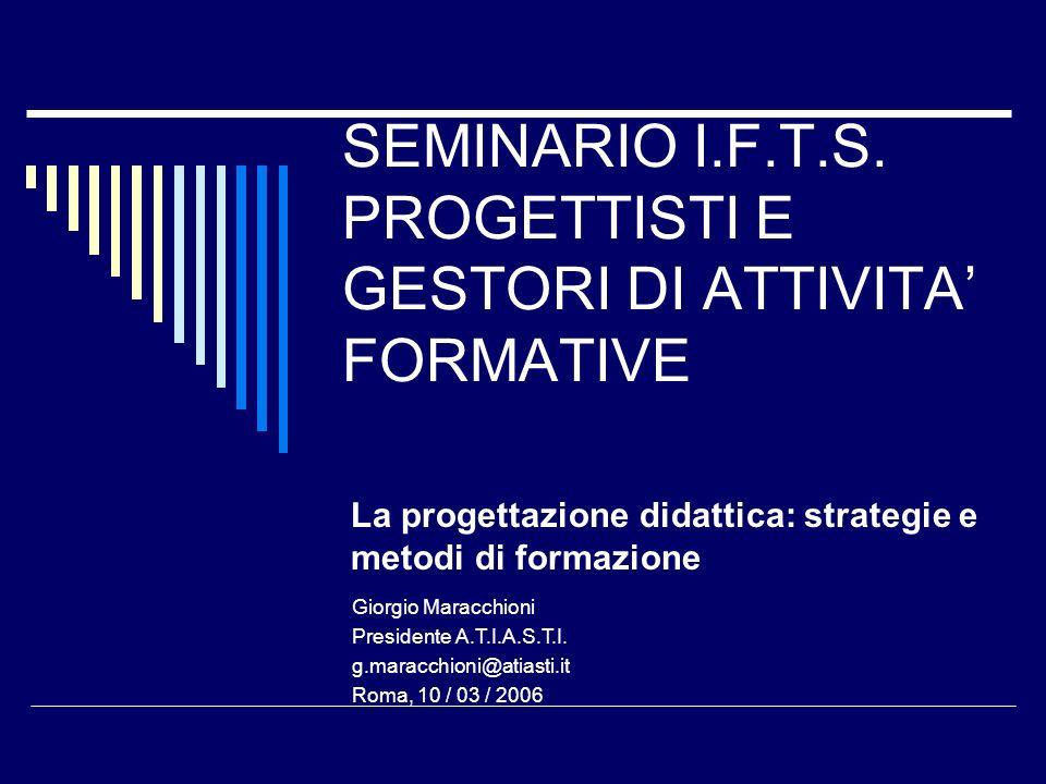 SEMINARIO I.F.T.S. PROGETTISTI E GESTORI DI ATTIVITA FORMATIVE La progettazione didattica: strategie e metodi di formazione Giorgio Maracchioni Presid