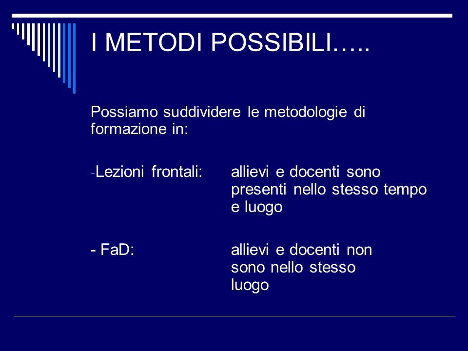 I METODI POSSIBILI….. Possiamo suddividere le metodologie di formazione in: - Lezioni frontali: allievi e docenti sono presenti nello stesso tempo e l