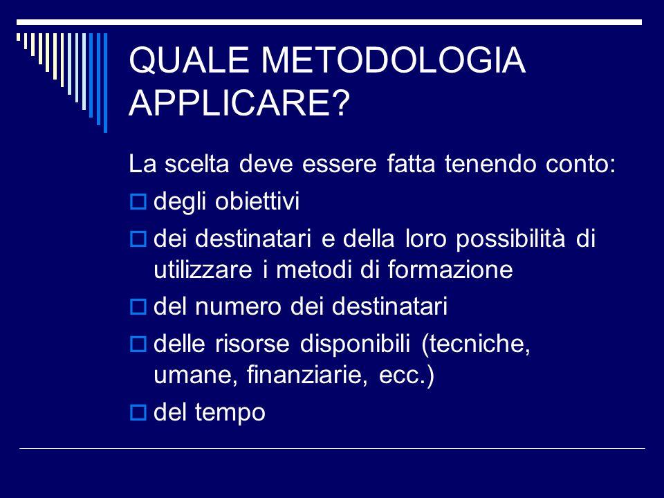 QUALE METODOLOGIA APPLICARE? La scelta deve essere fatta tenendo conto: degli obiettivi dei destinatari e della loro possibilità di utilizzare i metod