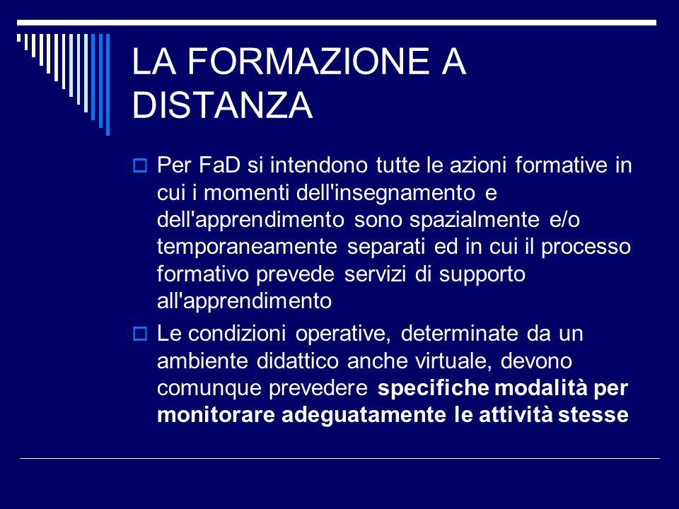 LA FORMAZIONE A DISTANZA Per FaD si intendono tutte le azioni formative in cui i momenti dell'insegnamento e dell'apprendimento sono spazialmente e/o