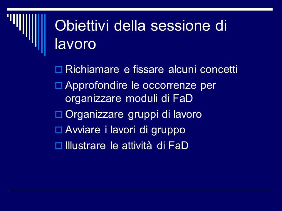 Obiettivi della sessione di lavoro Richiamare e fissare alcuni concetti Approfondire le occorrenze per organizzare moduli di FaD Organizzare gruppi di
