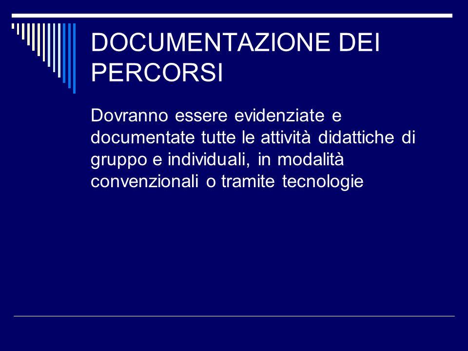 DOCUMENTAZIONE DEI PERCORSI Dovranno essere evidenziate e documentate tutte le attività didattiche di gruppo e individuali, in modalità convenzionali