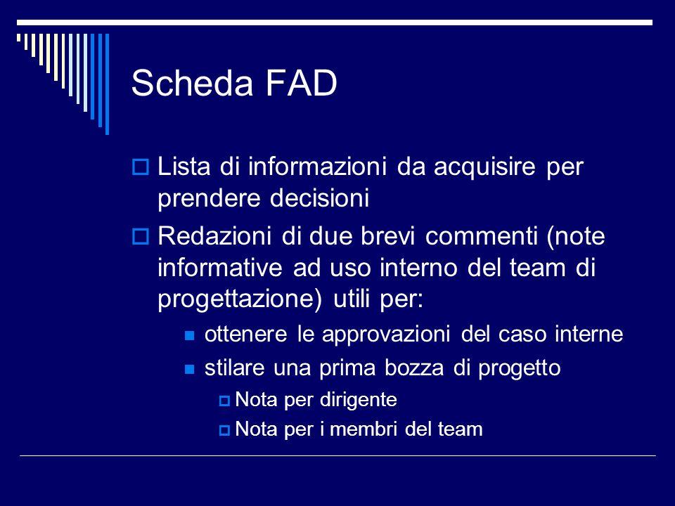 Scheda FAD Lista di informazioni da acquisire per prendere decisioni Redazioni di due brevi commenti (note informative ad uso interno del team di prog