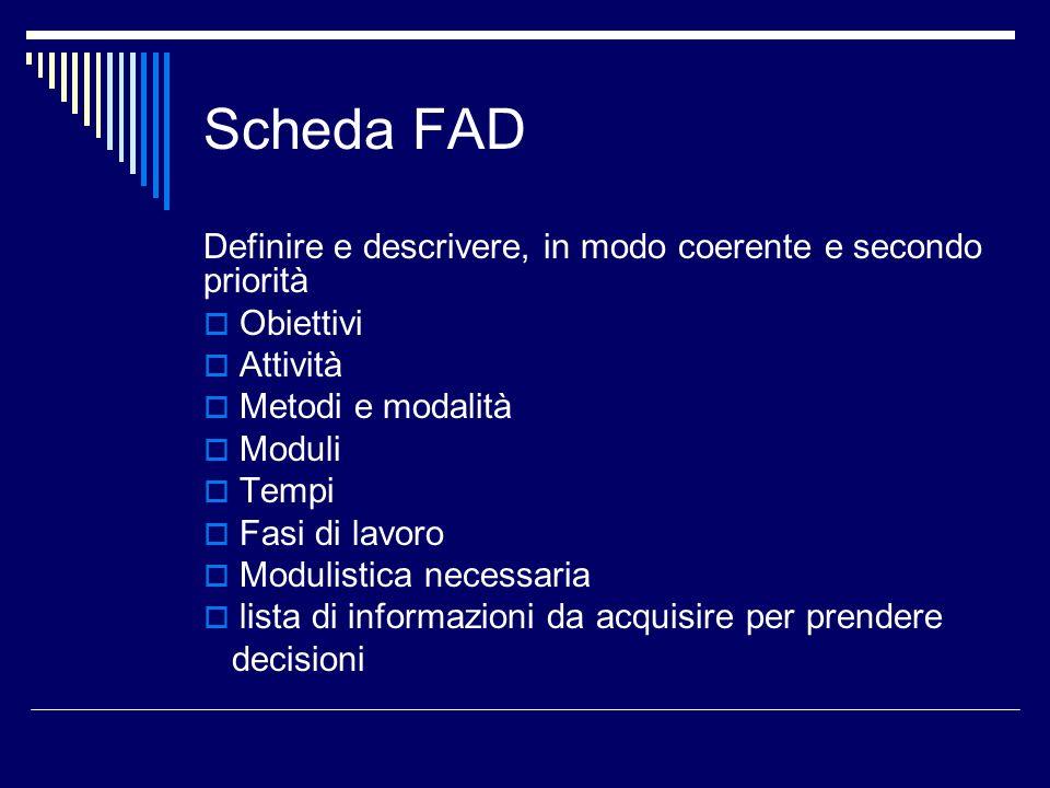 Scheda FAD Definire e descrivere, in modo coerente e secondo priorità Obiettivi Attività Metodi e modalità Moduli Tempi Fasi di lavoro Modulistica nec