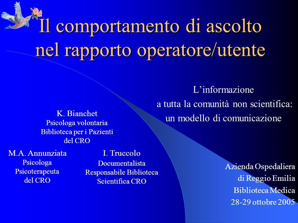 Il comportamento di ascolto nel rapporto operatore/utente Linformazione a tutta la comunità non scientifica: un modello di comunicazione Azienda Osped