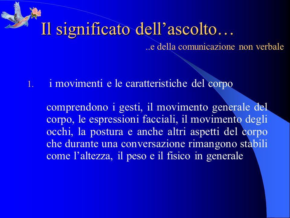 Il significato dellascolto…..e della comunicazione non verbale 1. i movimenti e le caratteristiche del corpo comprendono i gesti, il movimento general