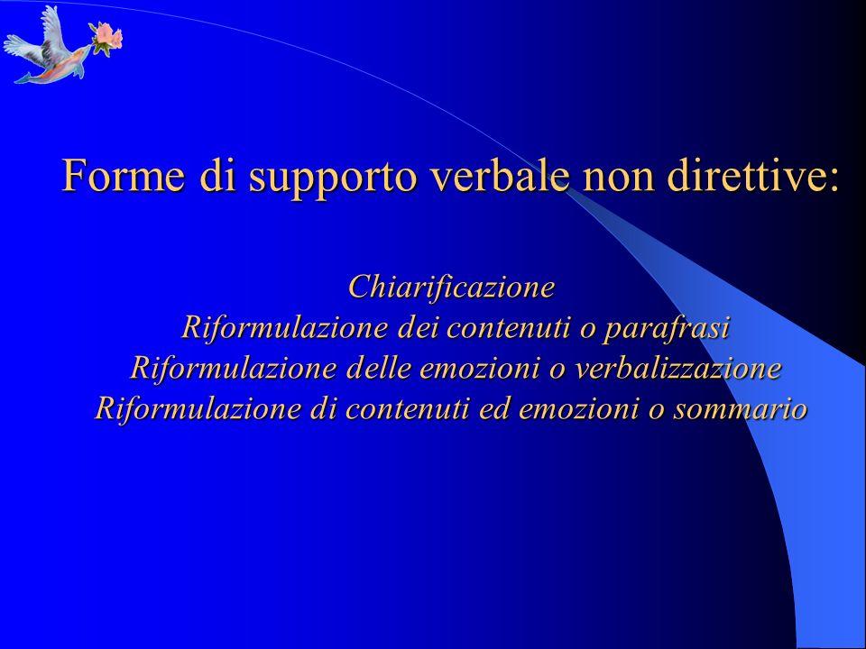 Forme di supporto verbale non direttive: Chiarificazione Riformulazione dei contenuti o parafrasi Riformulazione delle emozioni o verbalizzazione Rifo