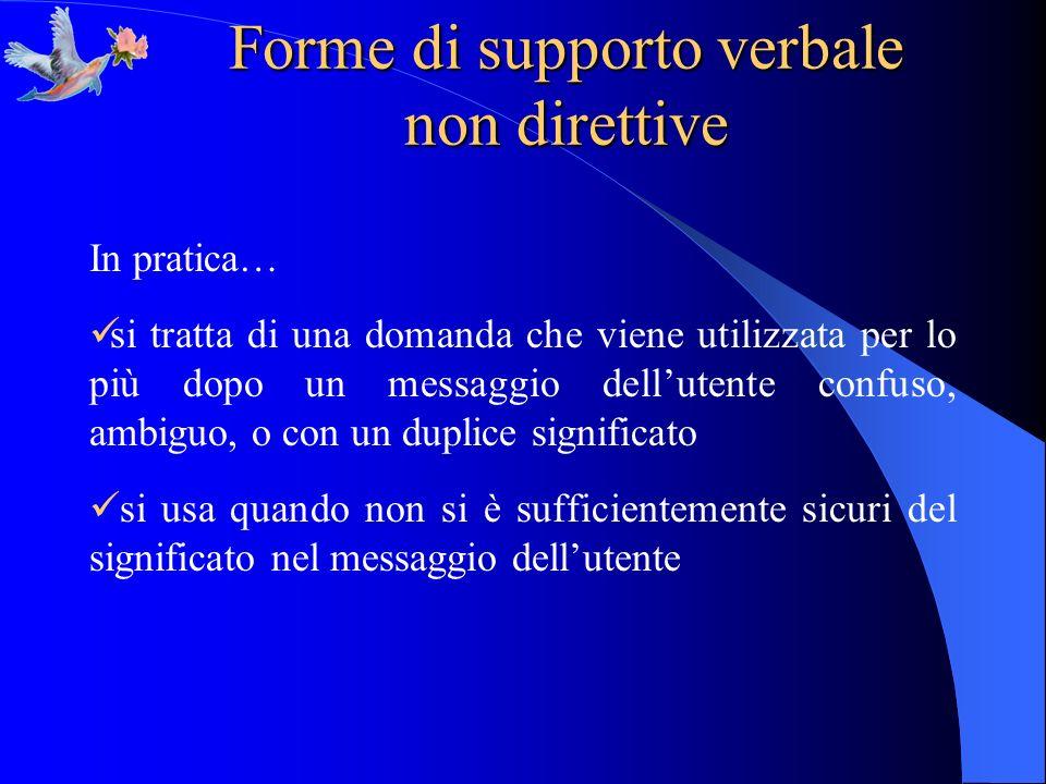 Forme di supporto verbale non direttive In pratica… si tratta di una domanda che viene utilizzata per lo più dopo un messaggio dellutente confuso, amb