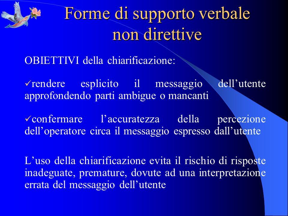 Forme di supporto verbale non direttive OBIETTIVI della chiarificazione: rendere esplicito il messaggio dellutente approfondendo parti ambigue o manca