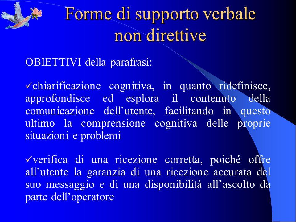 Forme di supporto verbale non direttive OBIETTIVI della parafrasi: chiarificazione cognitiva, in quanto ridefinisce, approfondisce ed esplora il conte