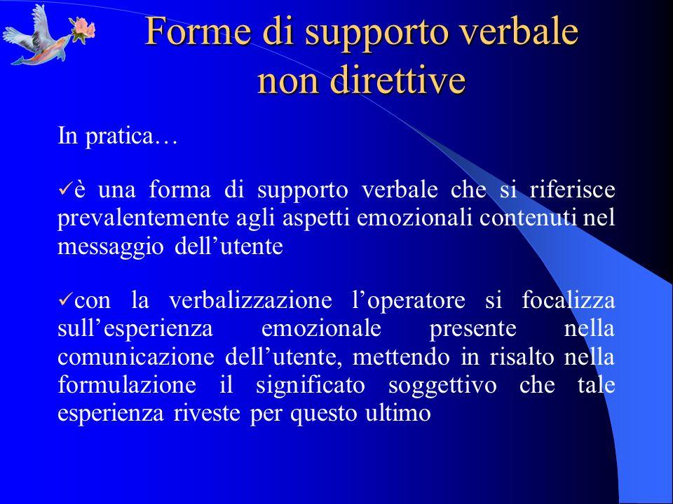 Forme di supporto verbale non direttive In pratica… è una forma di supporto verbale che si riferisce prevalentemente agli aspetti emozionali contenuti