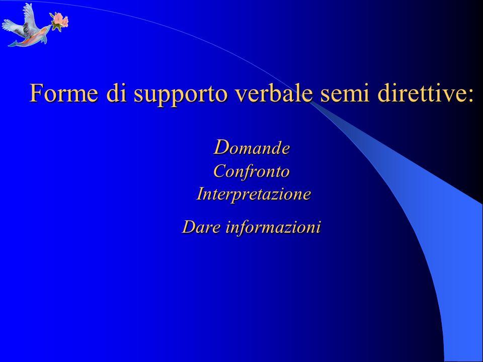 Forme di supporto verbale semi direttive: D omande Confronto Interpretazione Dare informazioni