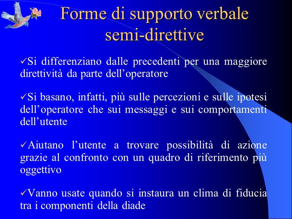 Forme di supporto verbale semi-direttive Si differenziano dalle precedenti per una maggiore direttività da parte delloperatore Si basano, infatti, più