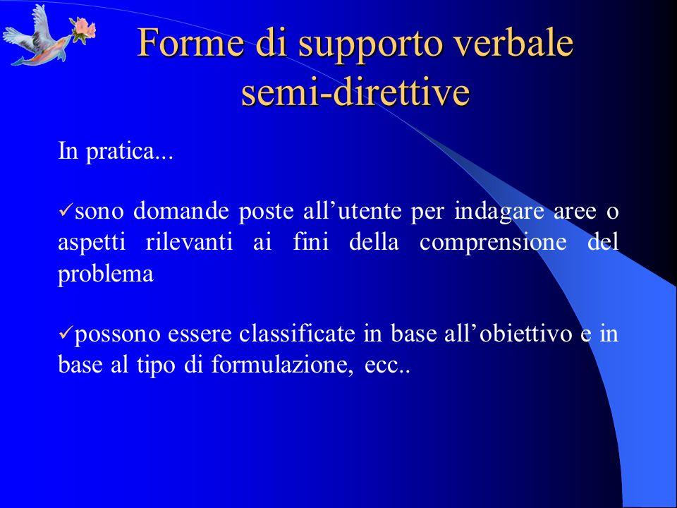 Forme di supporto verbale semi-direttive In pratica... sono domande poste allutente per indagare aree o aspetti rilevanti ai fini della comprensione d