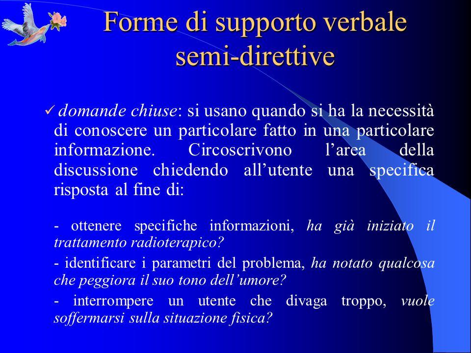 Forme di supporto verbale semi-direttive domande chiuse: si usano quando si ha la necessità di conoscere un particolare fatto in una particolare infor