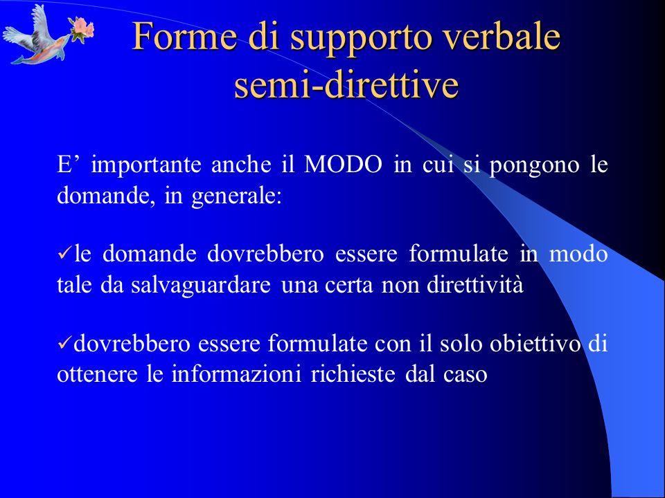 Forme di supporto verbale semi-direttive E importante anche il MODO in cui si pongono le domande, in generale: le domande dovrebbero essere formulate
