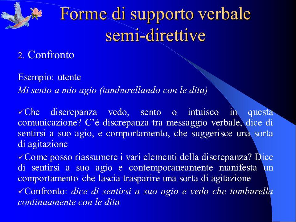 Forme di supporto verbale semi-direttive 2. Confronto Esempio: utente Mi sento a mio agio (tamburellando con le dita) Che discrepanza vedo, sento o in