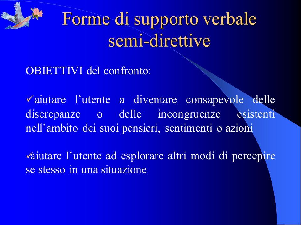 Forme di supporto verbale semi-direttive OBIETTIVI del confronto: aiutare lutente a diventare consapevole delle discrepanze o delle incongruenze esist