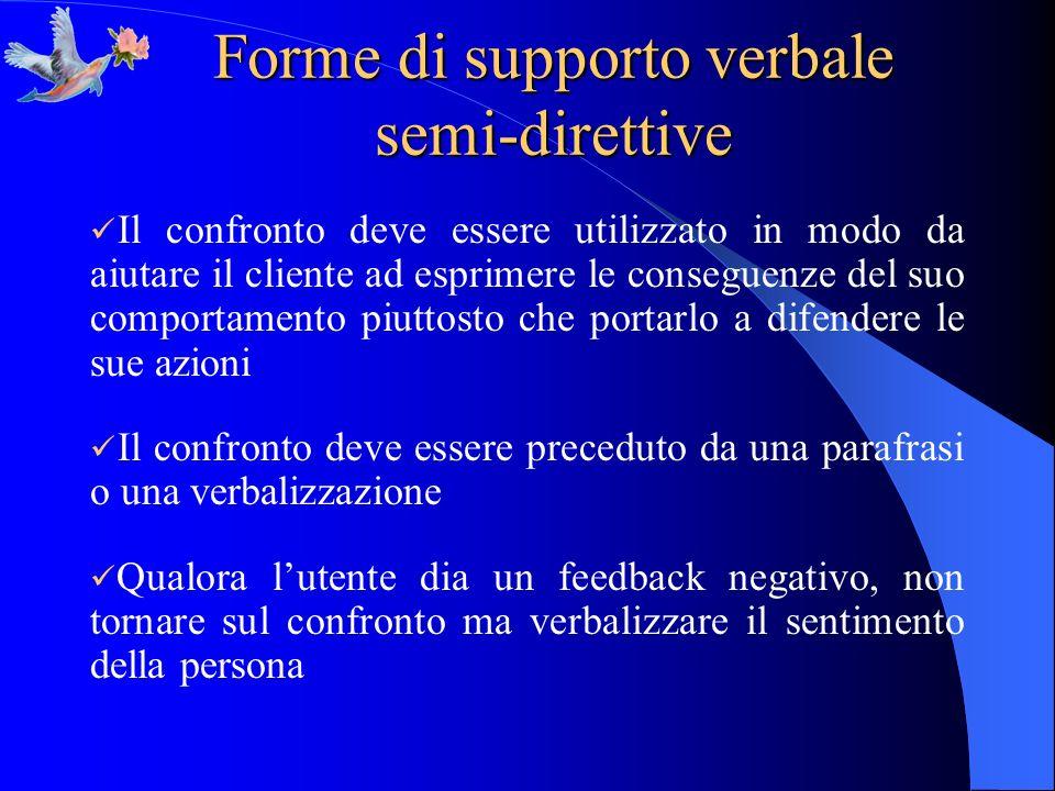 Forme di supporto verbale semi-direttive Il confronto deve essere utilizzato in modo da aiutare il cliente ad esprimere le conseguenze del suo comport